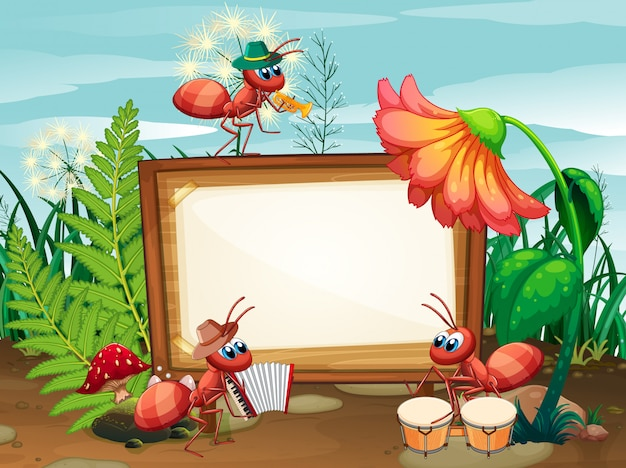 Border template  with insects in the garden background