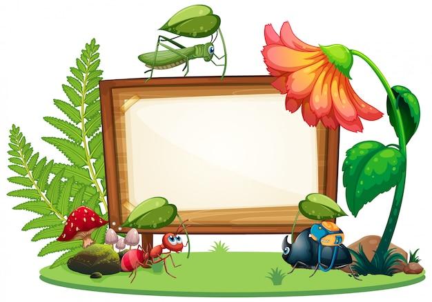 정원 배경에서 곤충과 테두리 서식