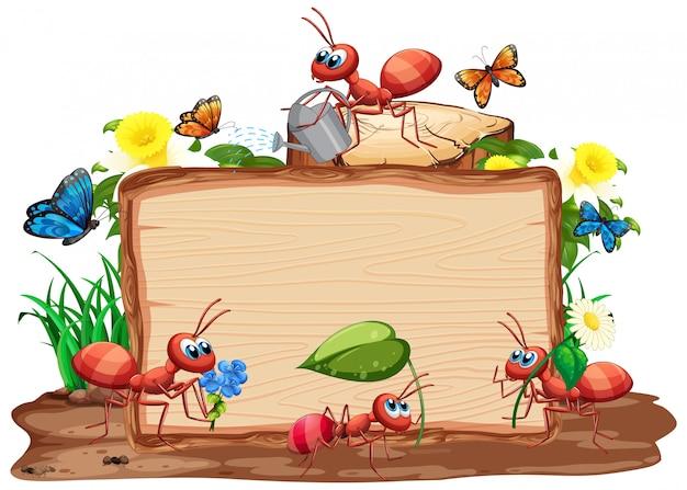庭の背景に昆虫と枠線テンプレート