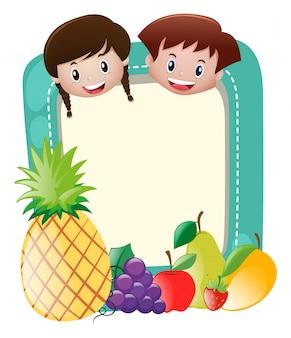 Шаблон границы с детьми и фруктами