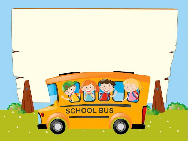 Border template with kids on the bus