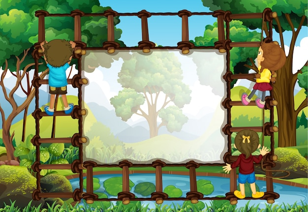 Border template with kids climbing ladder
