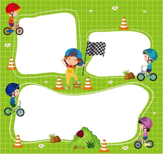 子供たちが乗る自転車のボーダーテンプレート