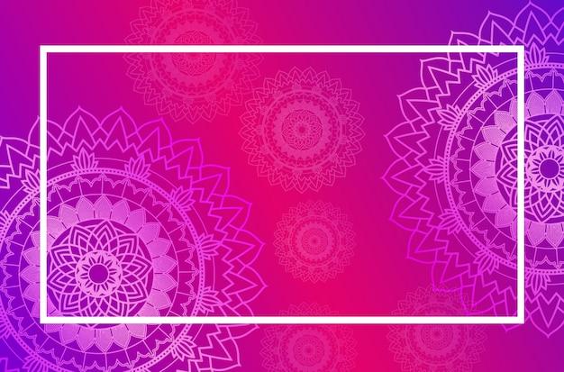 ピンクのマンダラパターンと枠線テンプレート