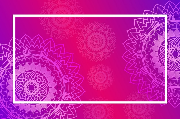 Border template with mandala pattern in pink