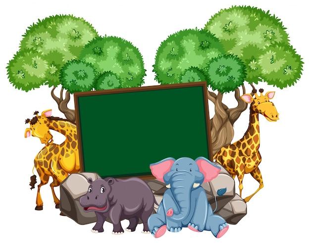多くの動物を持つボーダーテンプレート