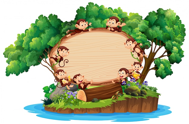 Border template with many monkeys on island