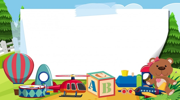 Border template with many toys in the park