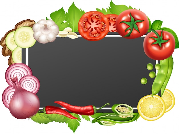 Border template with many vegetables