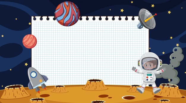 Border template with planets in the space background
