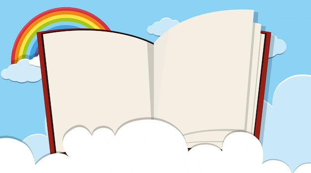 Border template with rainbow in sky