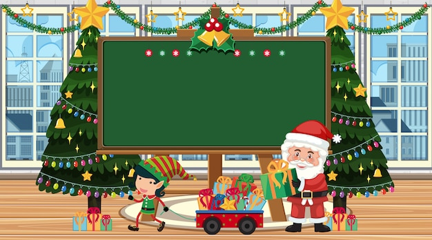 Border template with santa and elf