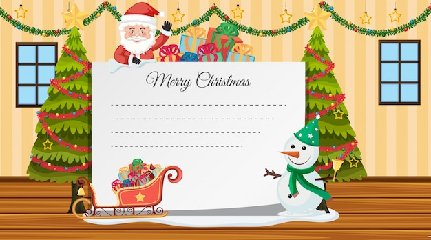 Border template with santa and snowman in the room
