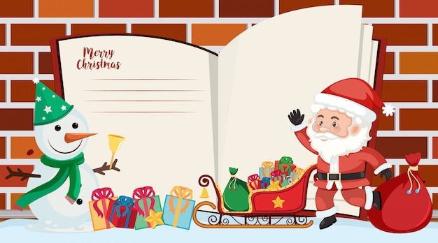 Border template with santa and snowman