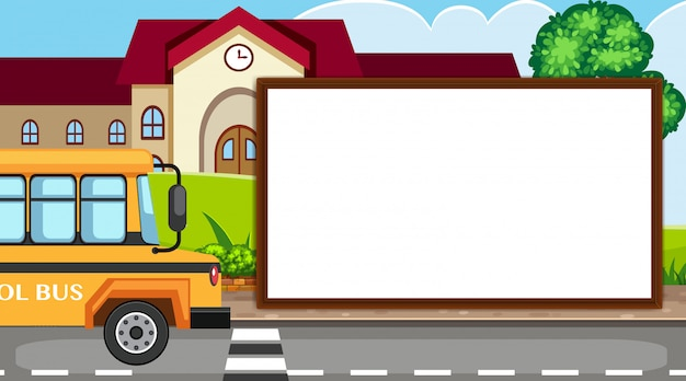 Border template with school building
