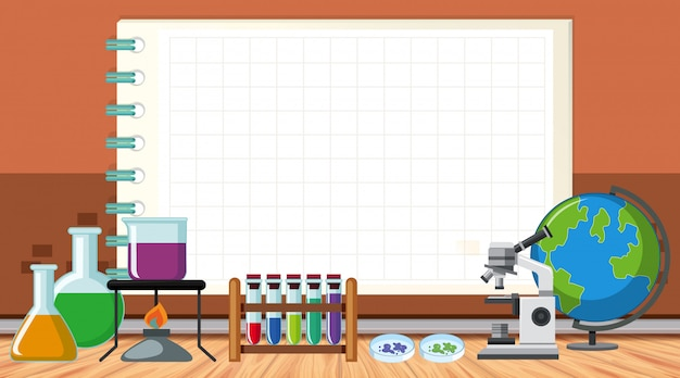 Border template with science equipments
