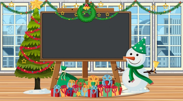Border template with snowman and present
