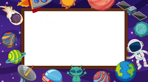 Border template with space theme in background