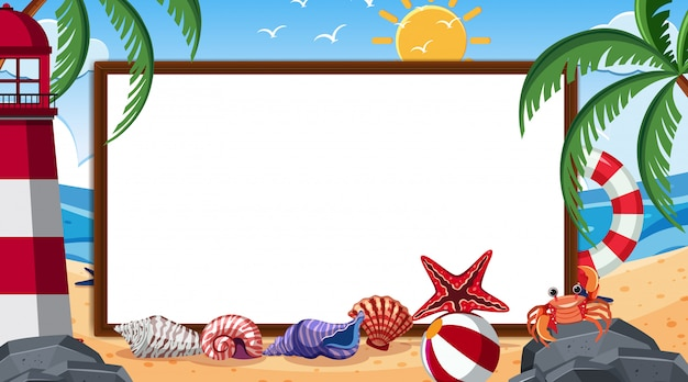 Border template with summer theme in