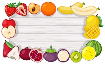 Border template with tropical fruits