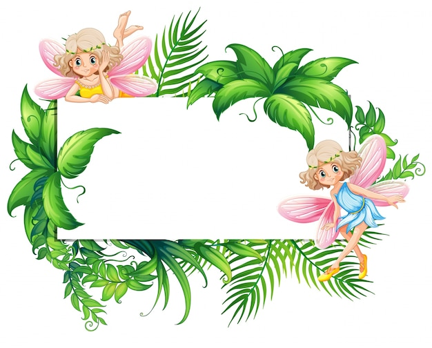 Граница с двумя феями в саду