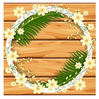 Border template with white flowers and green leaves