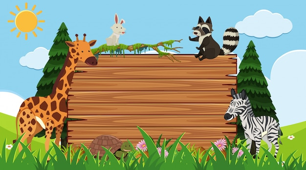 Border template with wild animals in background