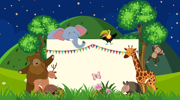 Шаблон границы с дикими животными в фоновом режиме