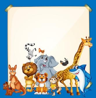 青い背景に野生動物とボーダーテンプレート