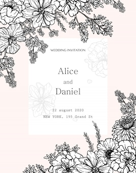 Border vector frame with flowers, herbs and botanical elements in hand drawn style