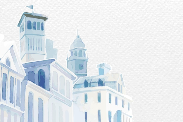 Vettore di confine con edifici architettonici mediterranei in acquerello su carta bianca sfondo strutturato Vettore gratuito