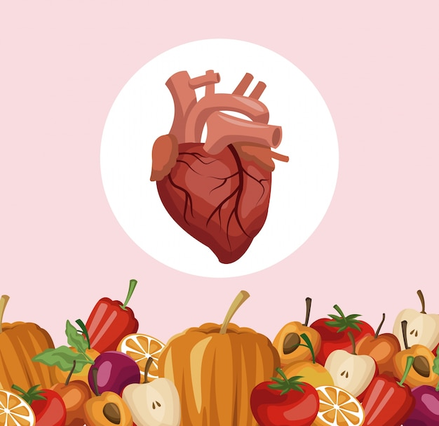 Border vegetables and fruits healthy food to heart organ
