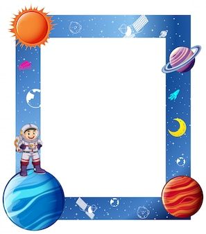 Border with astronaut and solar system