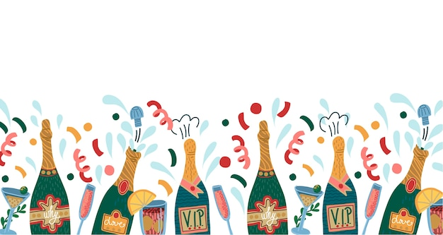 Border with bottles of champagne and glasses.