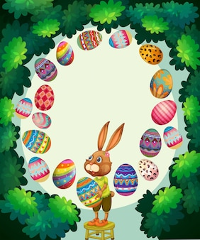 Border with bunny and easter eggs