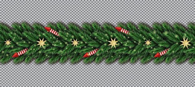 透明な背景にクリスマスツリーの枝、黄金の星、赤いロケットとの境界線。モミの小枝の境界線。