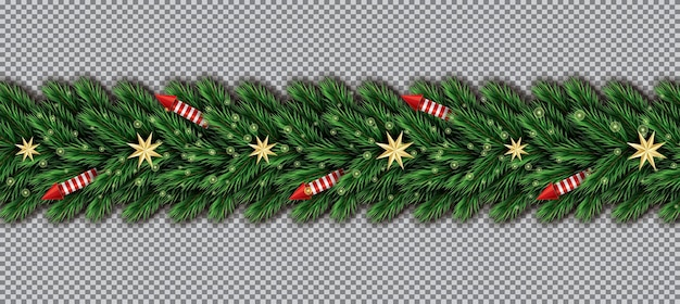 Border with christmas tree branches, golden stars and red rockets on transparent background. fir twig border.