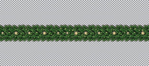 Border with christmas tree branches and golden stars