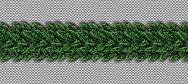 透明な背景の上のクリスマスツリーの枝との境界線。モミの小枝の境界線。