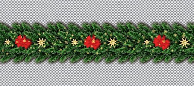 透明な背景にクリスマスツリーの枝、赤い弓と黄金の星との境界線。モミの小枝の境界線。