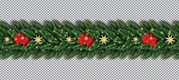 Border with christmas tree branches, red bow and golden stars on transparent background. fir twig border.