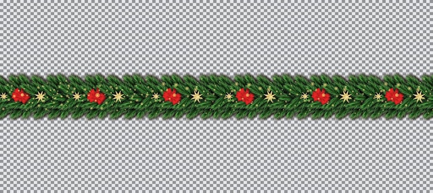 Border with christmas tree branches, red bow and golden stars