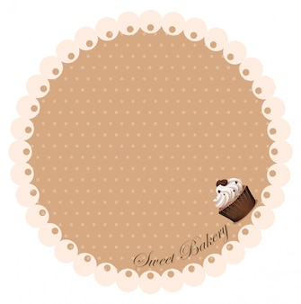 Border with coffee cupcake