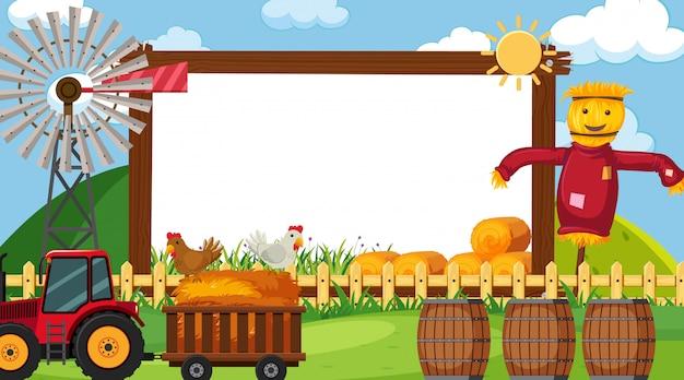 Border  with farm scene in background