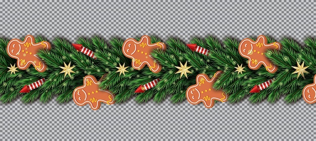 Border with gingerbread man, christmas tree branches, golden stars and red rockets