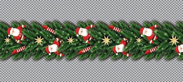 투명 한 배경에 산타 클로스, 크리스마스 나무 가지, 황금 별 및 빨간 로켓과 국경. 벡터 일러스트 레이 션. 전나무 나뭇가지 테두리.