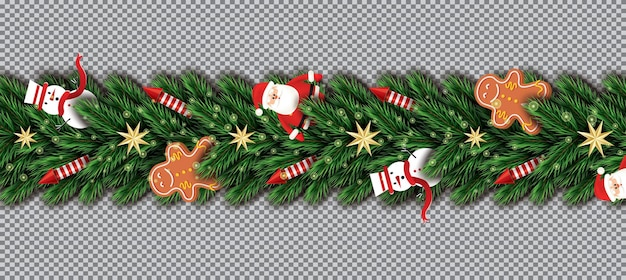 Border with santa claus, christmas tree branches, golden stars, red rockets, snowman and gingerbread man
