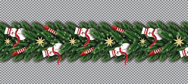 투명 한 배경에 눈사람, 크리스마스 나무 가지, 황금 별 및 빨간 로켓과 국경. 벡터 일러스트 레이 션. 전나무 나뭇가지 테두리.