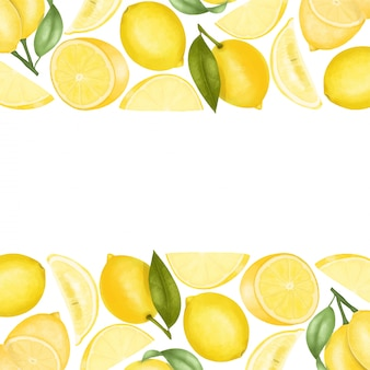 Borders of hand drawn lemons, illustration background