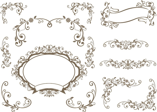Borders and label floral design decoration